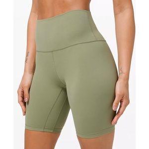 """rosemary green 8"""" lululemon align biker shorts 14"""